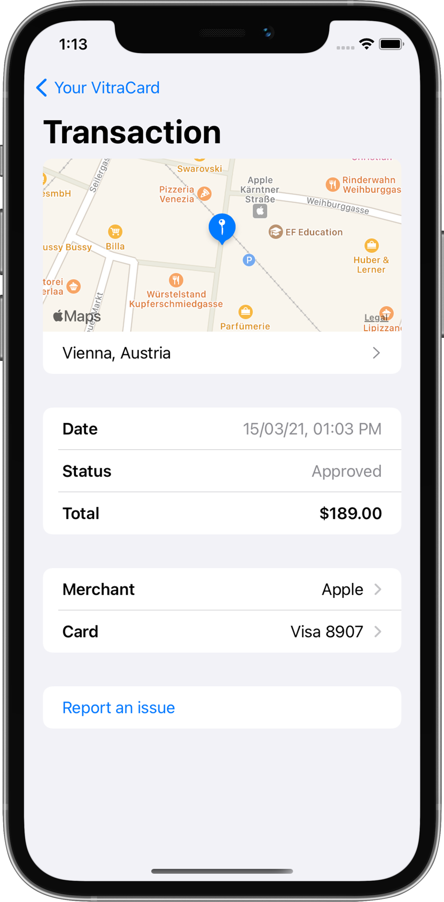 Details of a transaction inside the VitraCash app showing location, date, amount and more