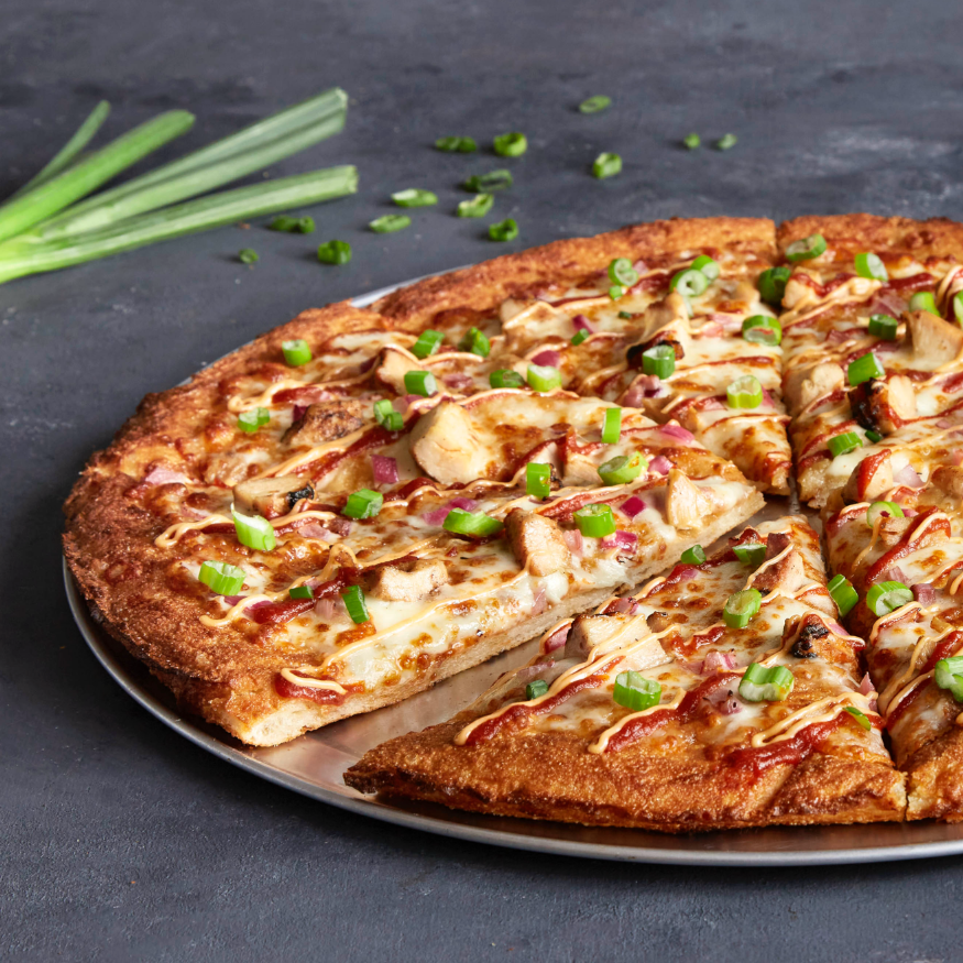 Oath's Spicy Mother Clucker pizza on a new! large thick crust.