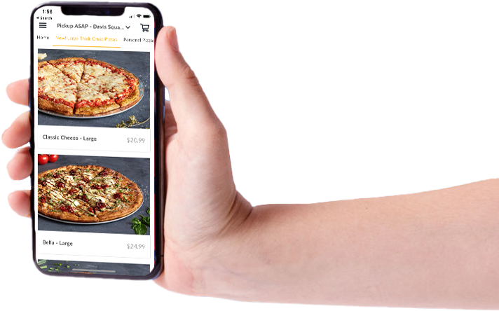 A hand holding a phone showing how easy and effective Oath Pizza digital fundraising can be!