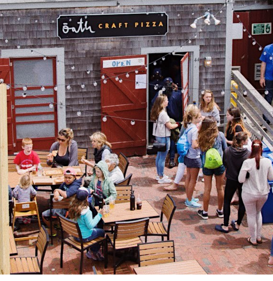 Oath Pizza's flagship Nantucket Island location with a long line of tourists and locals out of the door