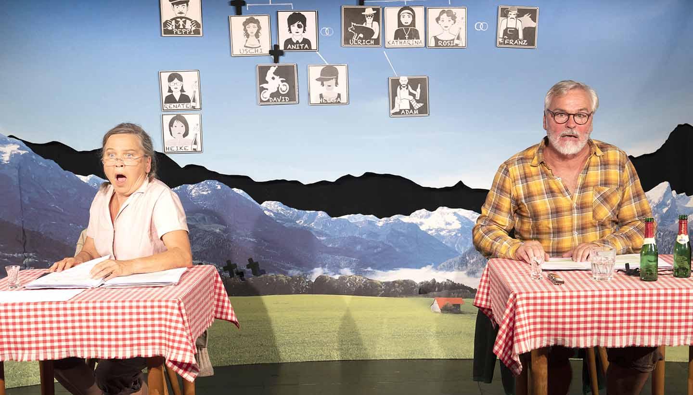 Zwei Schauspieler in der Theaterei in Herrlingen