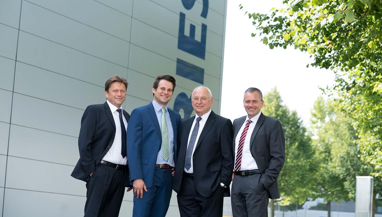 Geschäftsleitung der Tries GmbH: Roland Stirmlinger, Matthias Tries, Firmengründer Manfred Tries und Andreas Guter