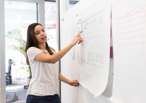 Vrouw wijst naar whiteboard met post-its