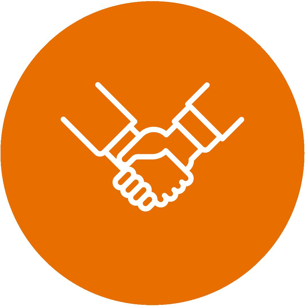 Orange Partners Handshaking Icon
