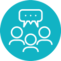communication icon blue