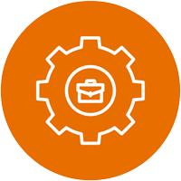 Orange Hiring Process Circle Icon