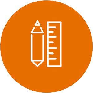 orange why we measure circle icon
