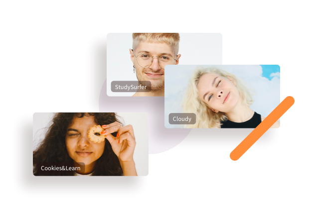 Three students in video calls looking into the camera laughing