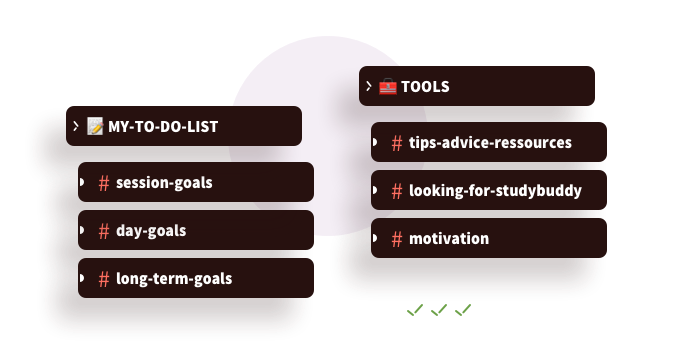 Examples of to do lists and goal setting options within the Discord calls, as well as examples of channels which encourage sharing study tips, advice, looking for a study buddy or study group, and motivation