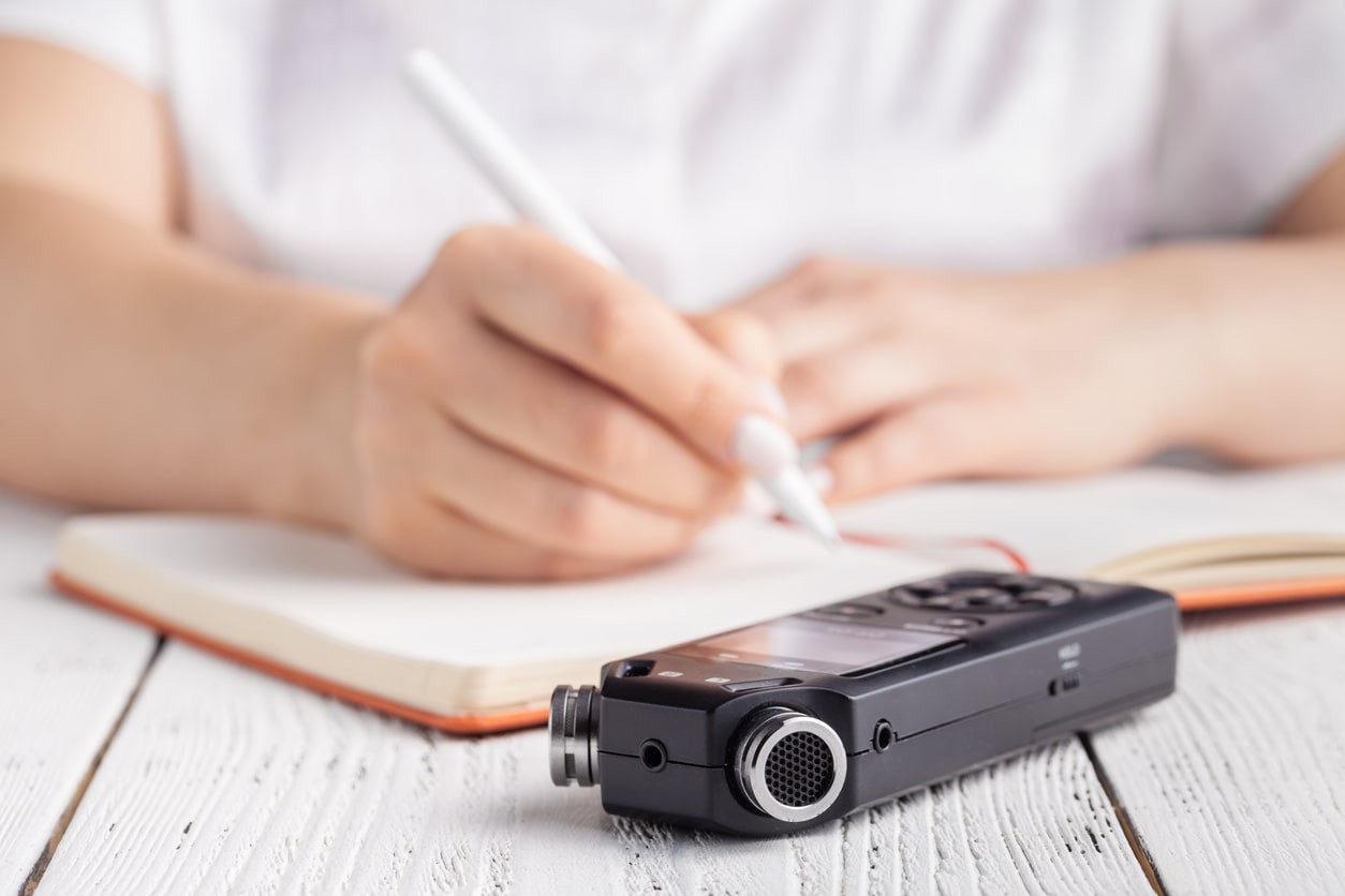 Can disciplinary or grievance meetings be audio recorded? Image of a dictaphone on the desk