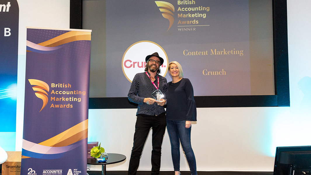 Crunch nominated for five business awards: Our Head of Content Jake Smith accepts our Content Award