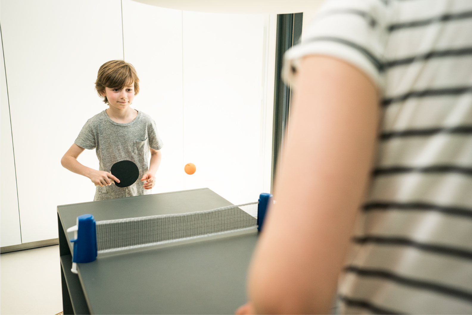 Decathlon's iconic Rollnet product. Making almost any flat surface easily transformed into a table tennis table.