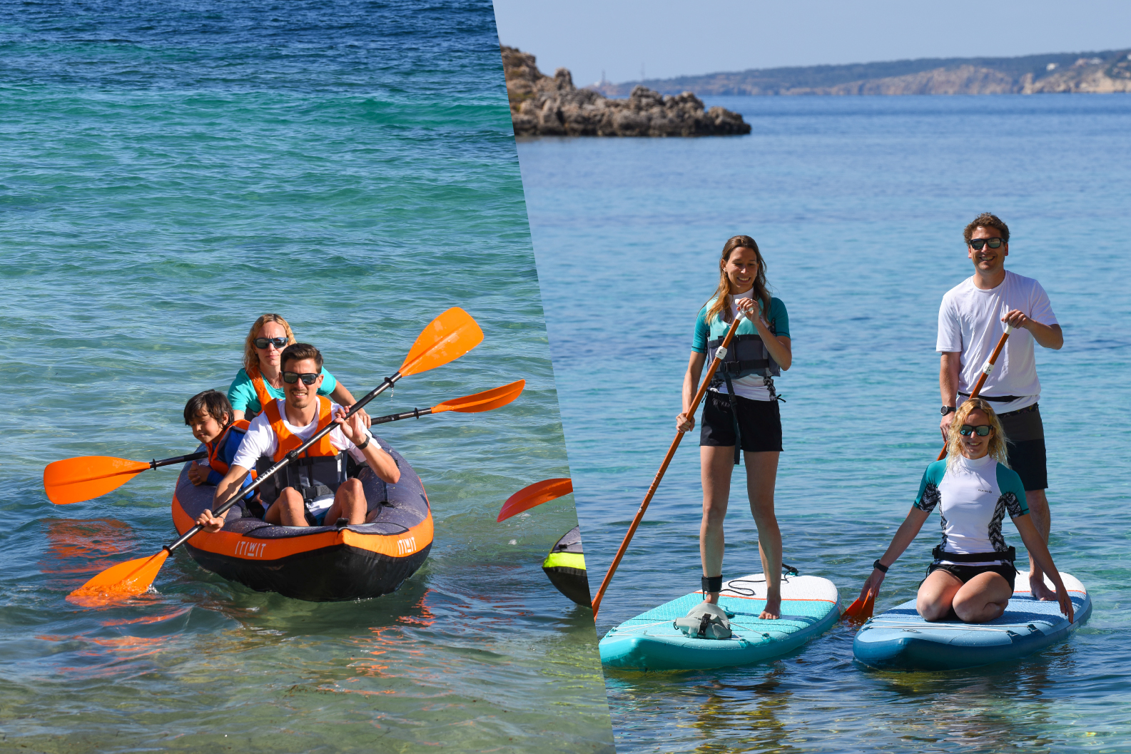 Inflatable watersports roducts available at Decathlon. Standup paddle board, kayaking
