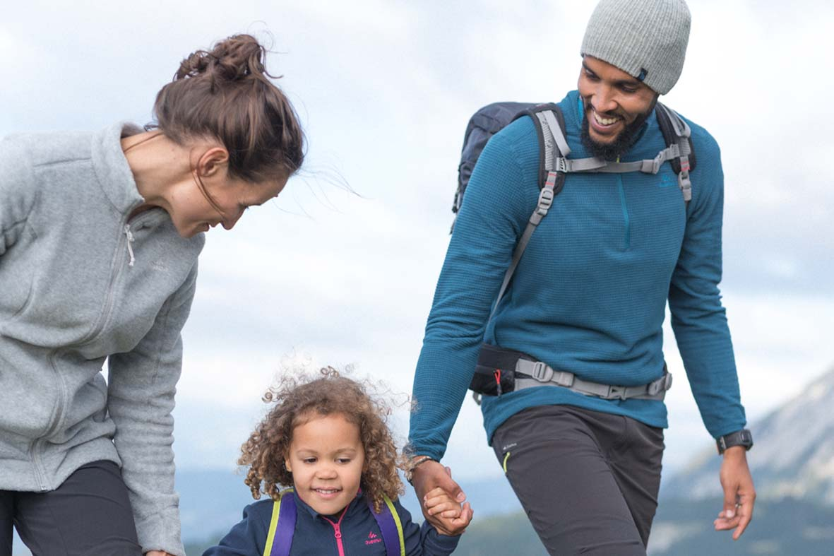 Family Hiking with young child. Hiking products for all levels, all weather possibilities and all ages of the family.