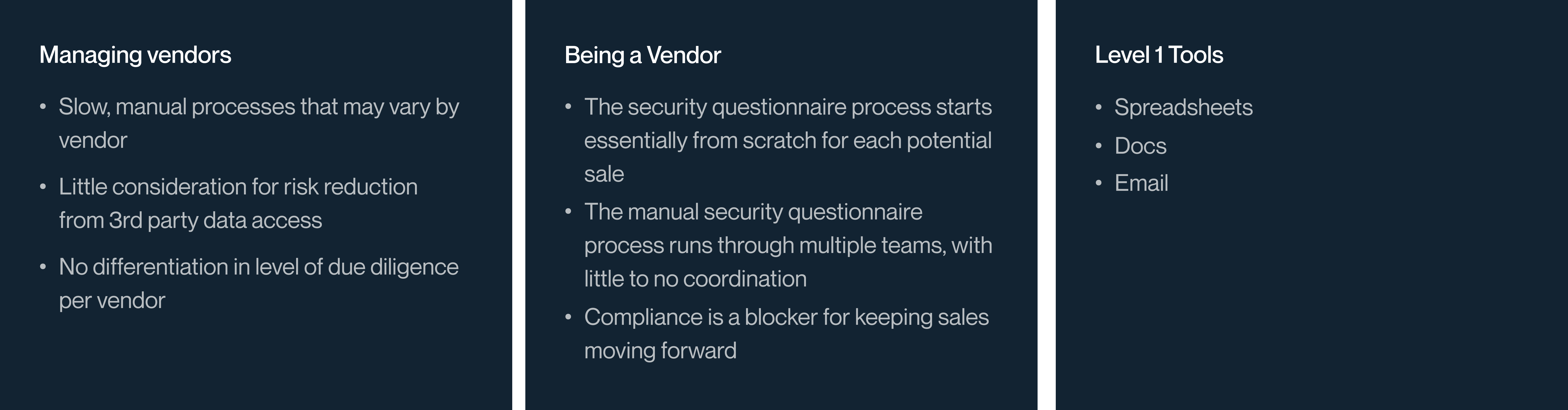 Vendor Management at Level 1