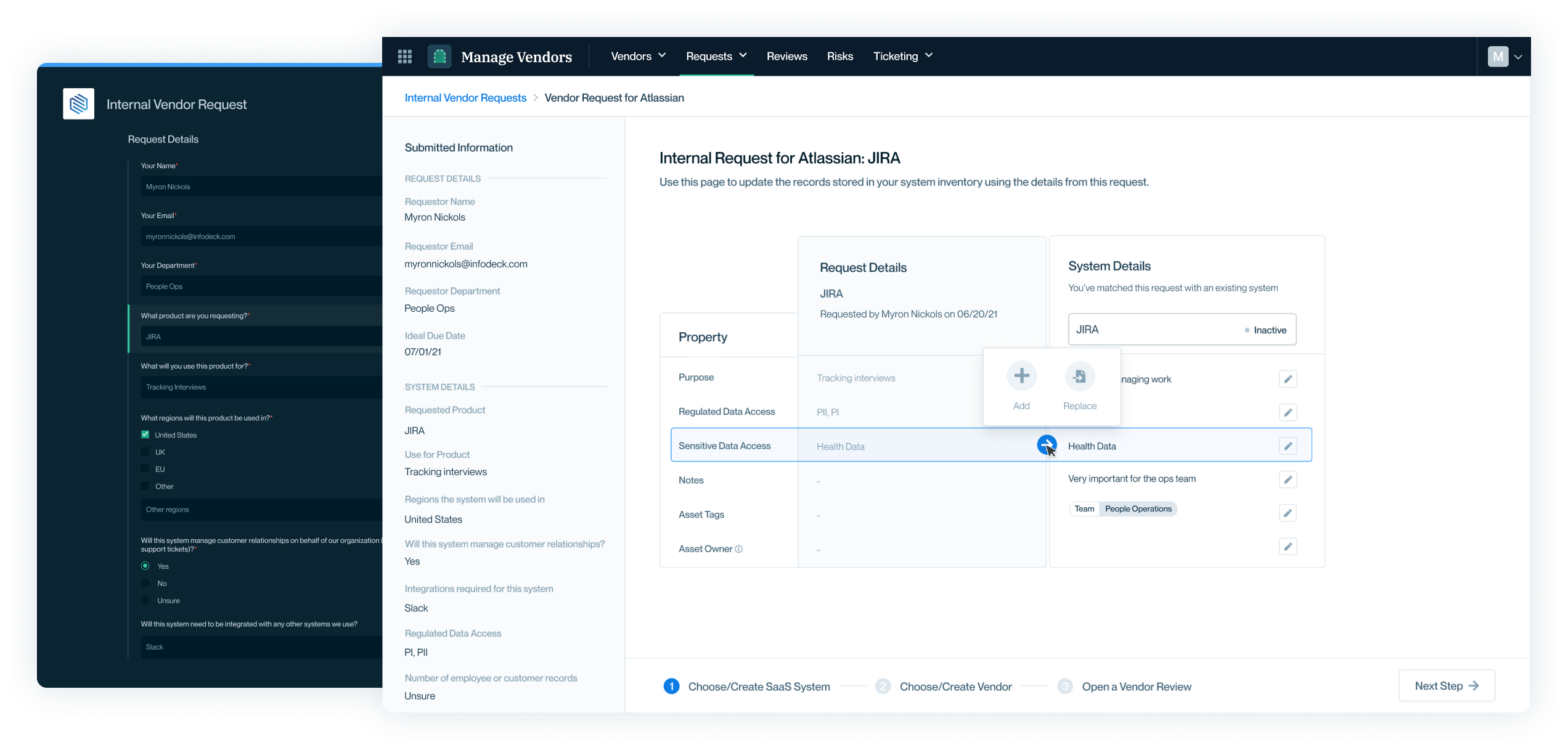Screenshot of internal vendor request form and processing.