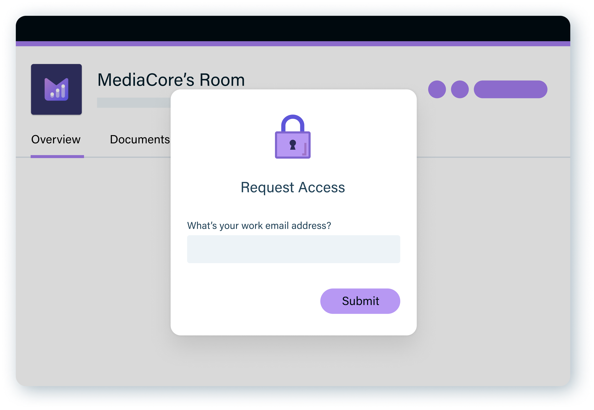 A customer requesting access to MediaCore's Room