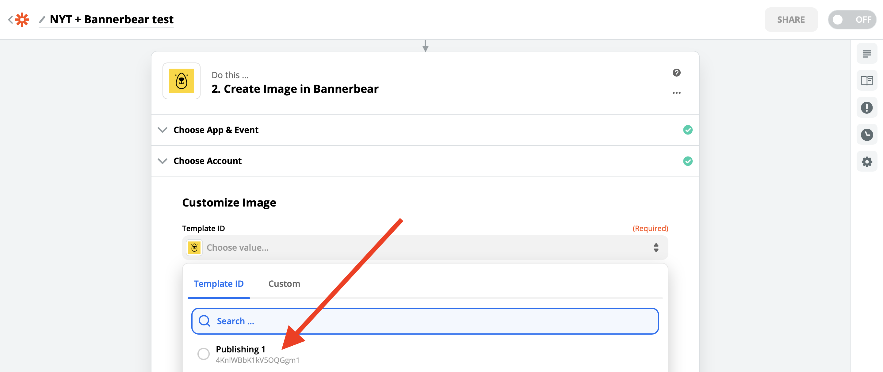 ></div></figure><p>Next, Zapier will load all of the template layers that you can manipulate.</p><p>Earlier I mentioned that this template is pretty simple and there's really only 3 things we want to manipulate:</p><ul><li>Background image</li><li>Abstract</li><li>Title</li></ul><p>Here's how to do that:</p><ol><li>Connect template <strong>Background Image URL</strong> to the Formatter <strong>Output</strong></li><li>Connect template <strong>Abstract Text</strong> to the NYT <strong>Abstract</strong></li><li>Connect template <strong>Title Text</strong> to the NYT <strong>Title</strong></li></ol><figure class=