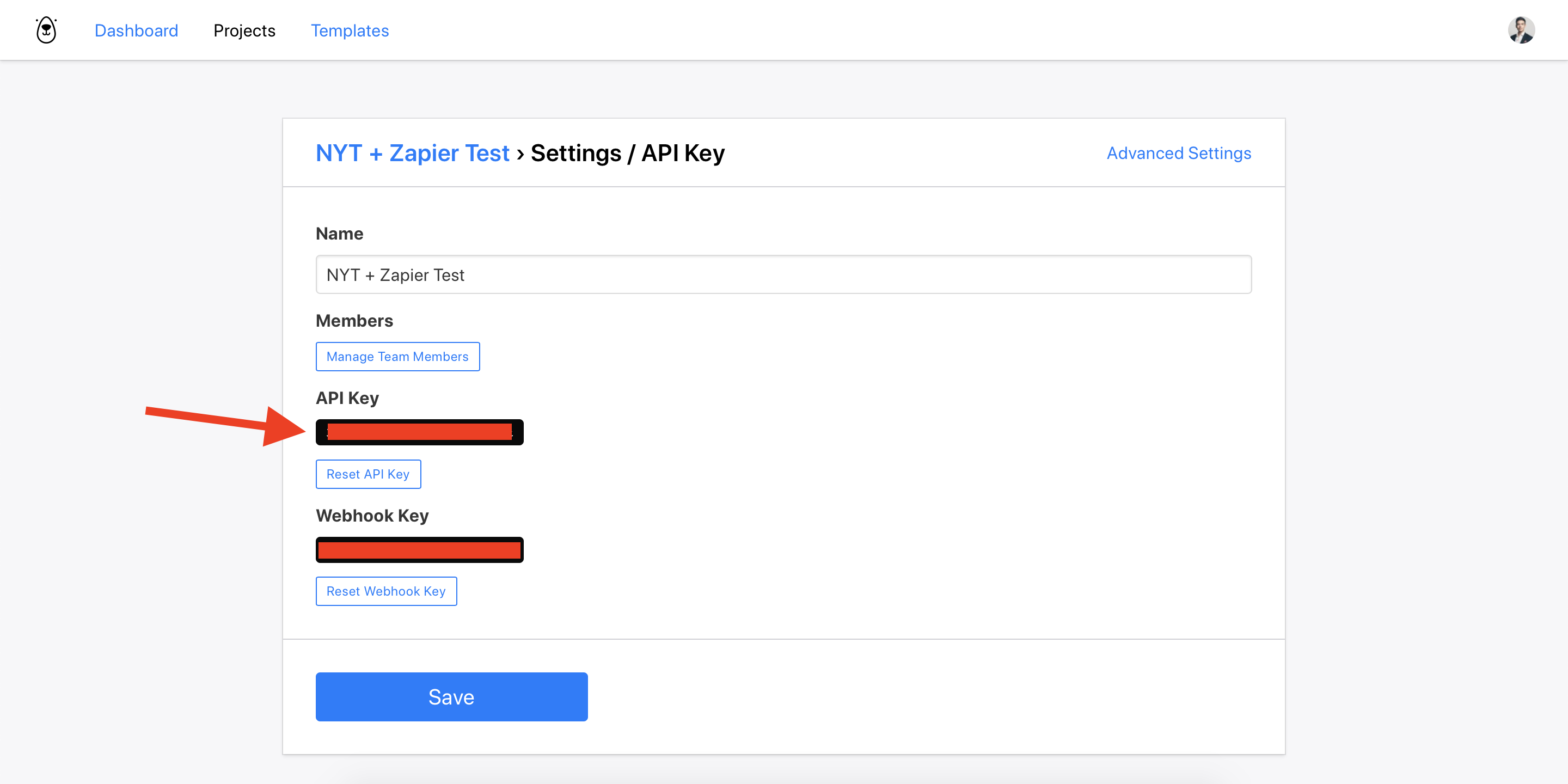 ></div></figure><p>Copy the API key to your clipboard to use later.</p><h2>Creating a new Zap in Zapier</h2><p><strong>Now lets switch to the Zapier interface.</strong></p><p>In your Zapier.com account, create a new Zap.</p><p>As the