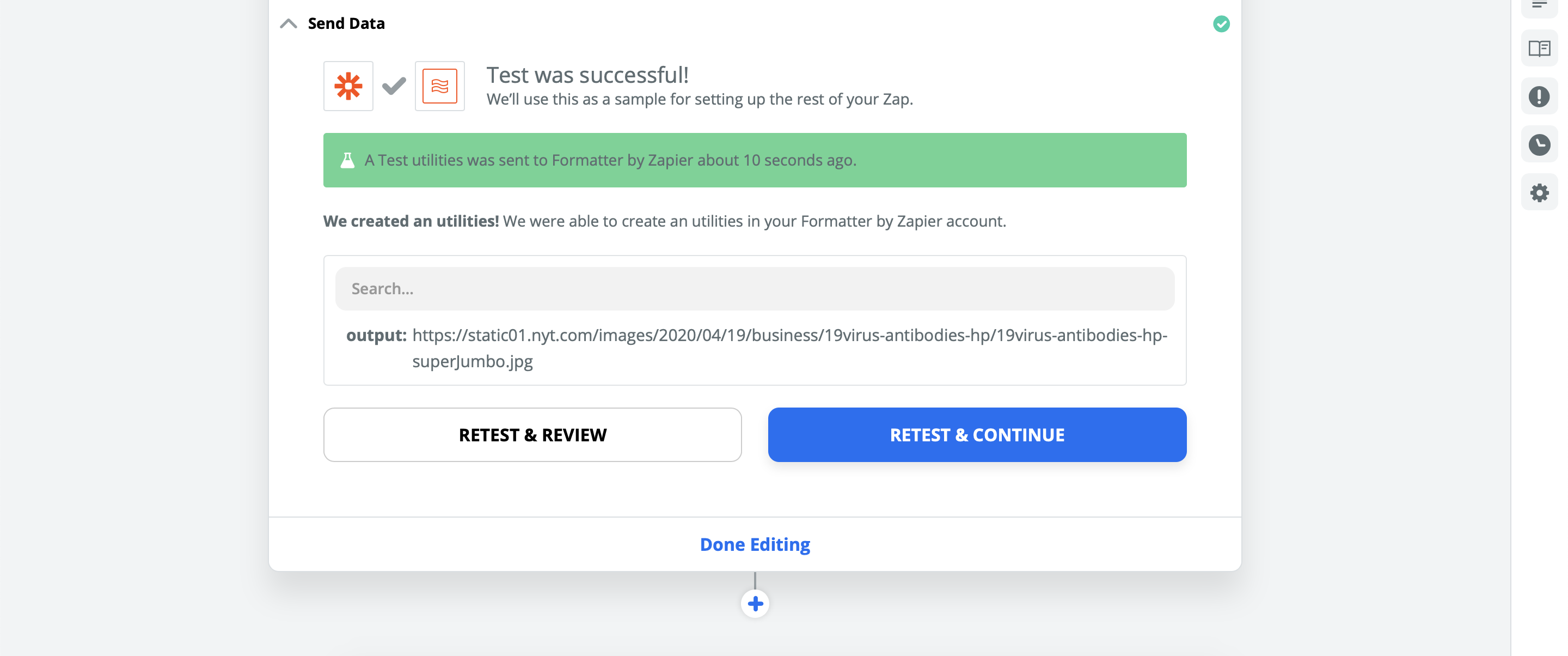 ></div></figure><h2>Connecting Zapier to Bannerbear</h2><p>Add a next step to your Zap.</p><p>In the next step Zapier will ask what you want to do with the data gathered thus far. We want to push it to Bannerbear, so search for and choose Bannerbear from the menu:</p><figure class=