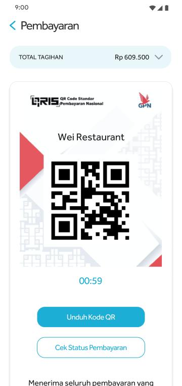 Tampilan Pembayaran QRIS dalam layanan Pesanan dari HP (PHP) di sisi Customer