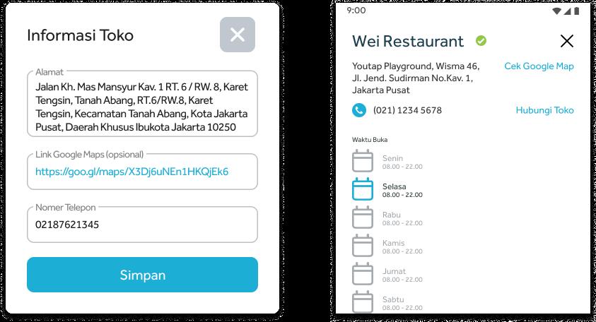 Pengaturan Informasi Merchant di Tablet Usaha Youtap dan tampilan informasi Merchant di layanan PHP sisi Customer