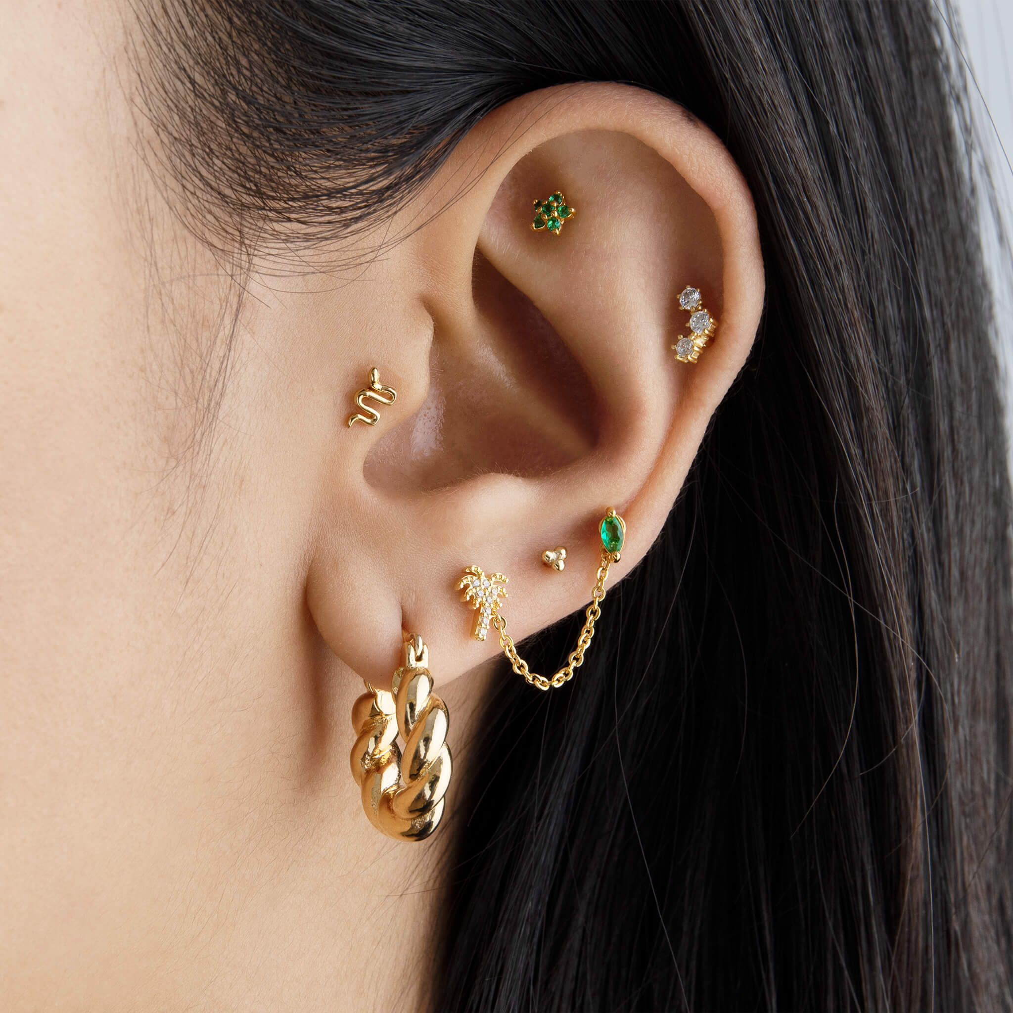 image of goldern earscape with a palm chain and snake