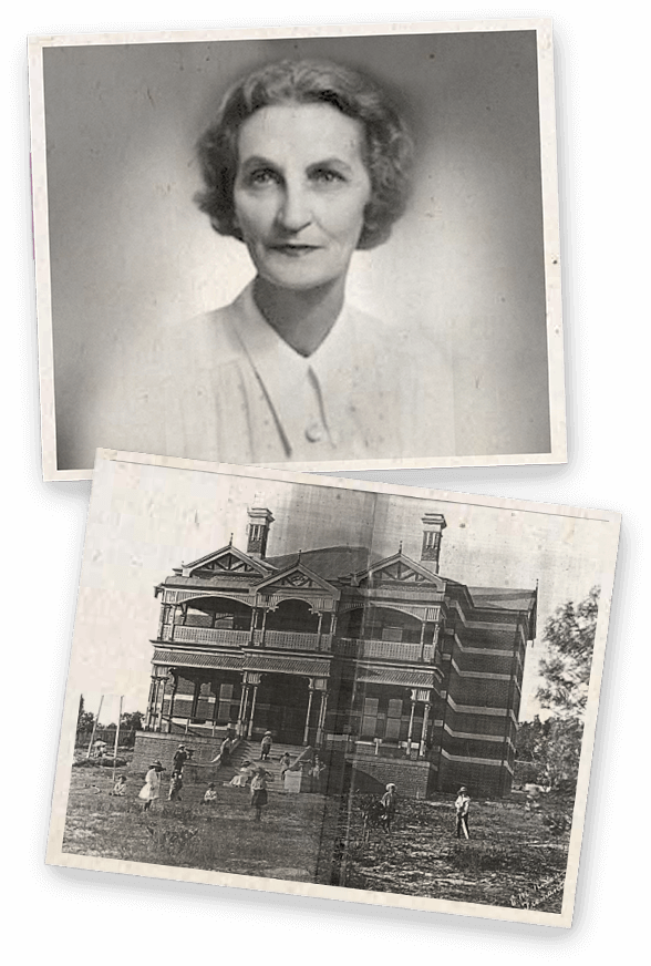 Two black and white photos. The first is a portrait of Florence Hummerston and the second is photo of the Wanslea hostel in Cottesloe