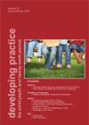 Red publication cover featuring a photo of four people's legs seated at a bench outdoors. The title is Developing Practice: The Child Youth and Family Work Journal.