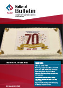 Publication cover with a red and white background, featuring a cake with the numbers 70 on it. The title is AASW National Bulletin
