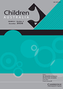 Blue, grey and black publication cover with a circular background pattern, titled Children Australia.