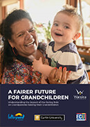 A fairer future for grandchildren publication cover, featuring a grandmother holding her grandson and smiling