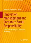 Yellow publication cover with a red background pattern, titled innovation management and corporate social responsibility.