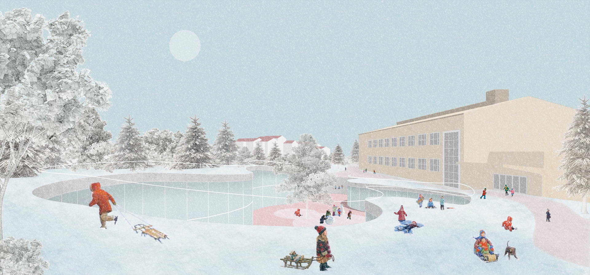 Taking cues from Kerava's historical, cultural and educational context, we designed three spatial scenarios for the expansion and redevelopment of Kerava Central School. Situated in the heart of the city, we looked for ways of highlighting the school's past, present and future while simultaneously increasing its presence in the community. Each design is adaptable and open to accommodate the changing, diverse needs of educators and students and includes a large, lively playground that provides sunlight and access to outdoor (learning) activities.