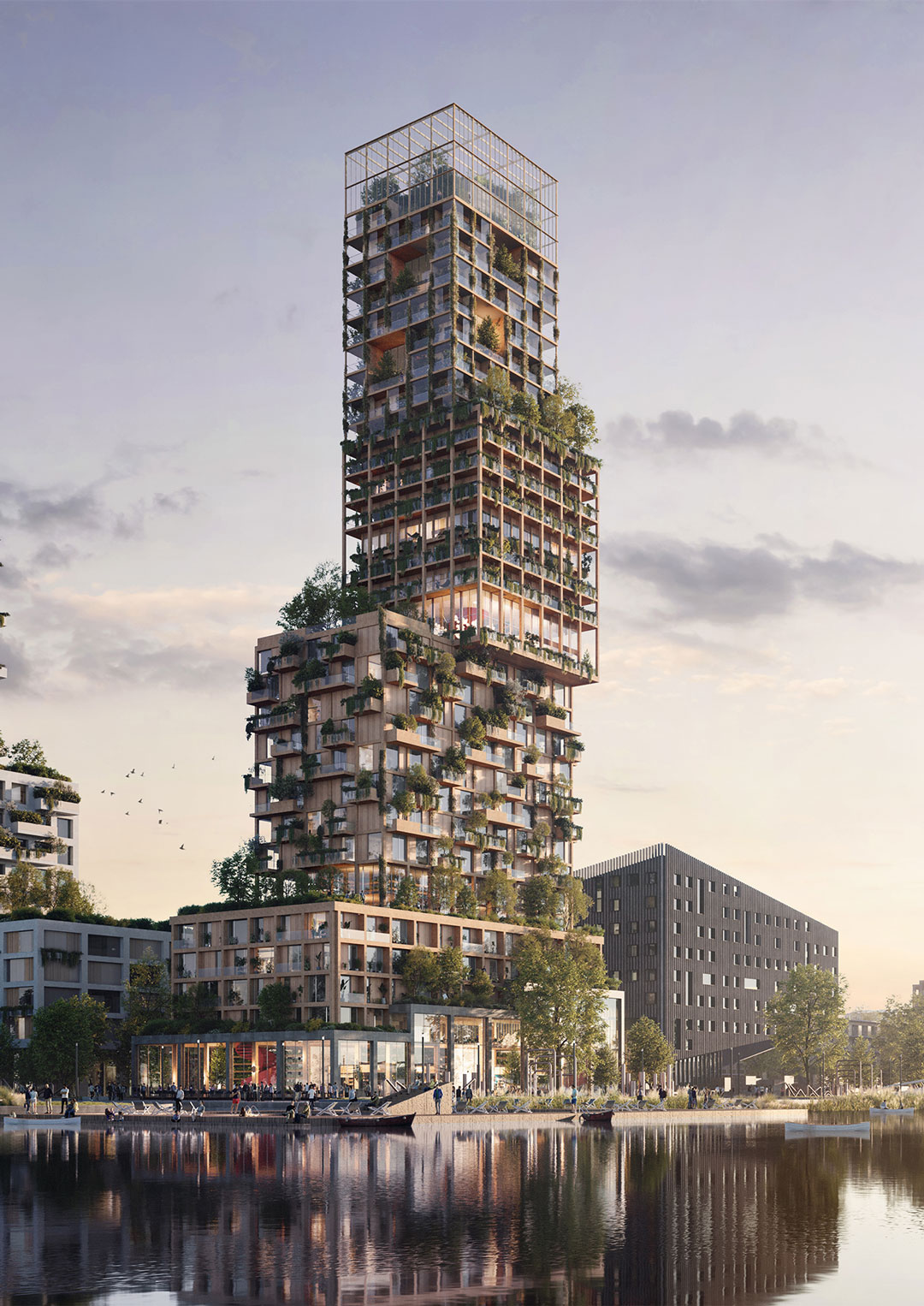The Urban Tree Village offers a solution for how we might accommodate and encourage co-living in cities where space is limited. A group of citizens asked us to investigate the importance and possibilities of co-living in an increasingly individualistic society, on the one hand, and conceptualize an (architectural) solution for this trend, on the other. As a result, we delivered the Urban Tree Village: a concept for a community-based highrise in which residents are spread out across four distinct blocks and share bespoke facilities. By blending together sustainable design and shared living principles, the Urban Tree Village sends a hopeful message to those who are working to address polarization, loneliness and climate change in cities.