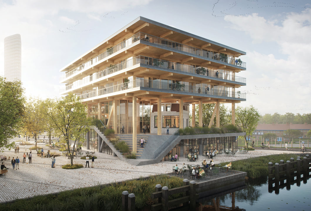 Spectrum, renamed De Omval, is our winning contribution to a development competition organised by the City of Amsterdam. This multifunctional building composed entirely of wood is wrapped around the iconic cafe De Omval, thereby honouring the area's rich history while also giving it a new future. What makes this project extra special is the fact that the real estate development and construction management will be done by companies directly linked to Space&Matter. We break ground in 2023 and can't wait to get started.