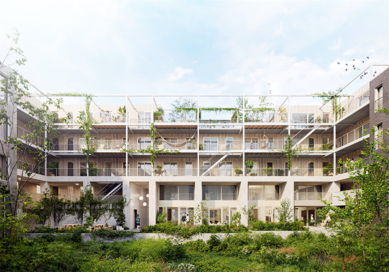 """Wij_land is a pioneering self-build collective. We brought together a group of self-proclaimed """"pragmatic idealists"""" and guided them in designing their dream home: a climate-neutral, rainproof multi-residential building made up of low-maintenance and nature-friendly materials. Residents can choose between multiple types of customisable dwellings and determine the infill of the five shared spaces."""