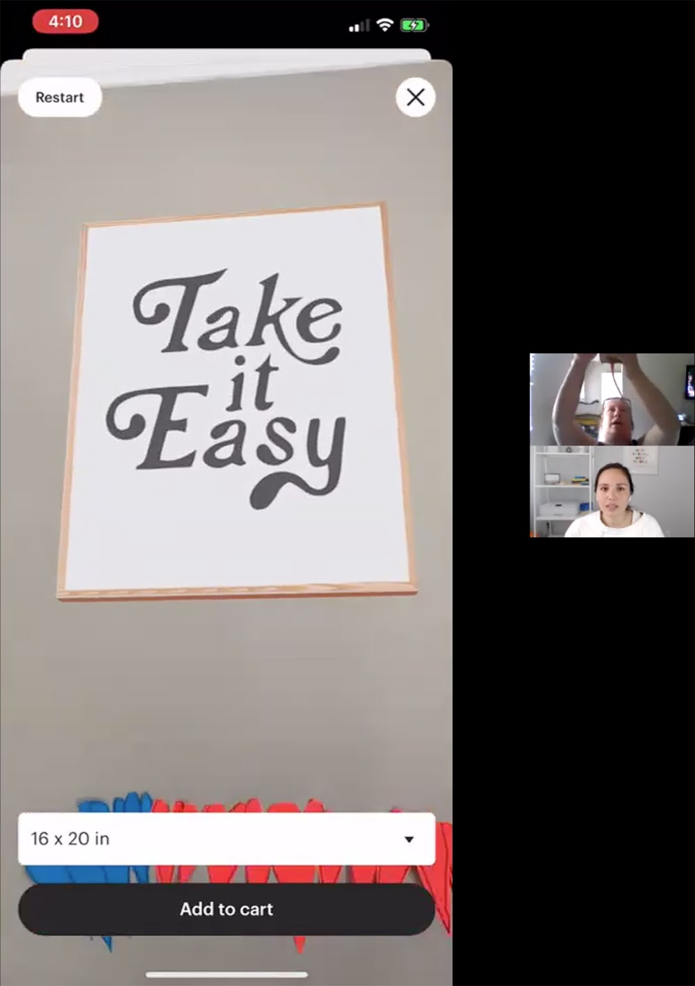 Photo showing virtual wall art stating Take it Easy placed on a beige wall.