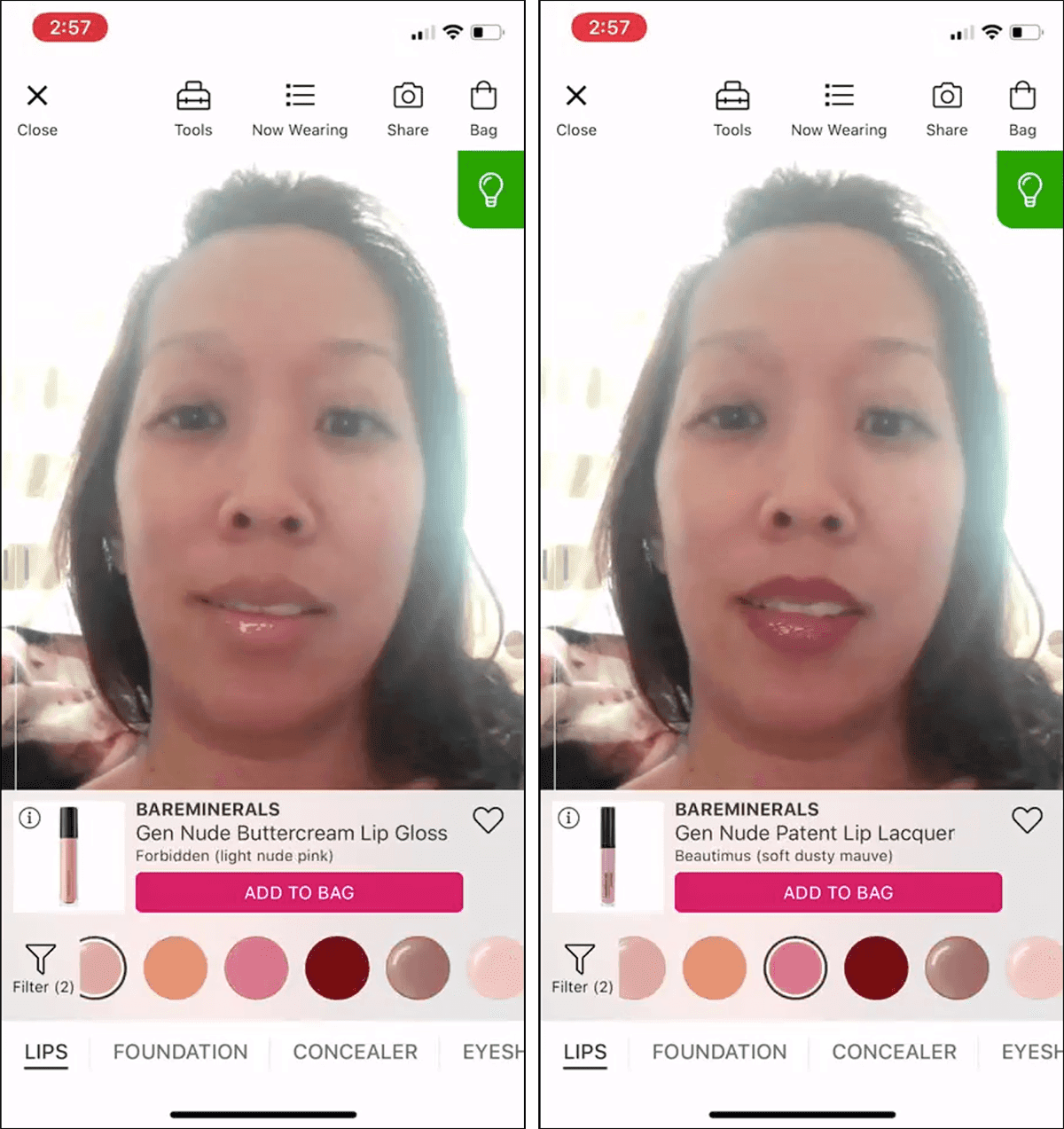 Photos of a user trying on lipstick colors using the Ulta GLAMlab AR tool.