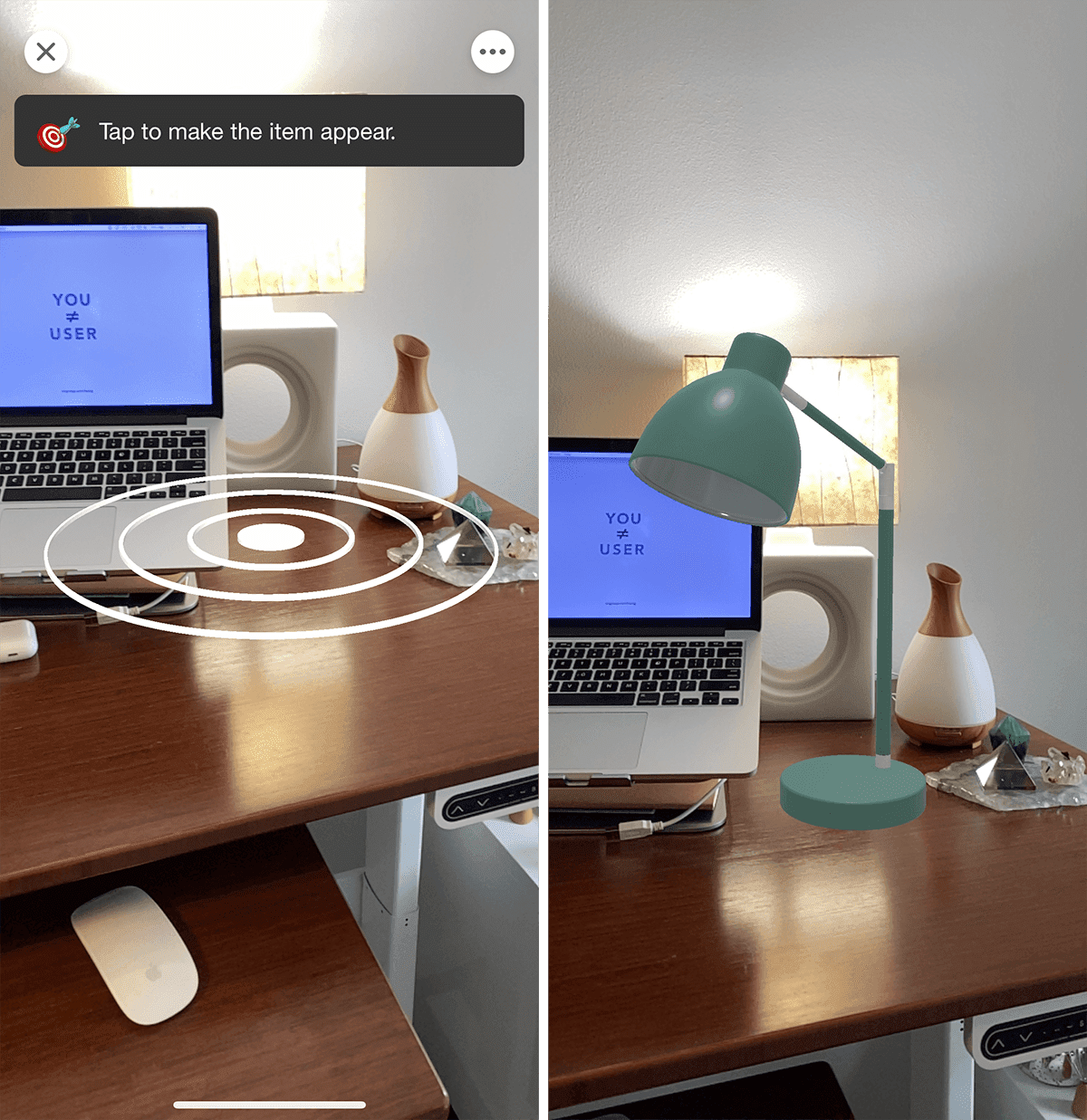 2 screenshots of AR tool: 1 showing white circles indicating where a virtual item would be placed on a desk; and 1 showing the virtual lamp on a desk.
