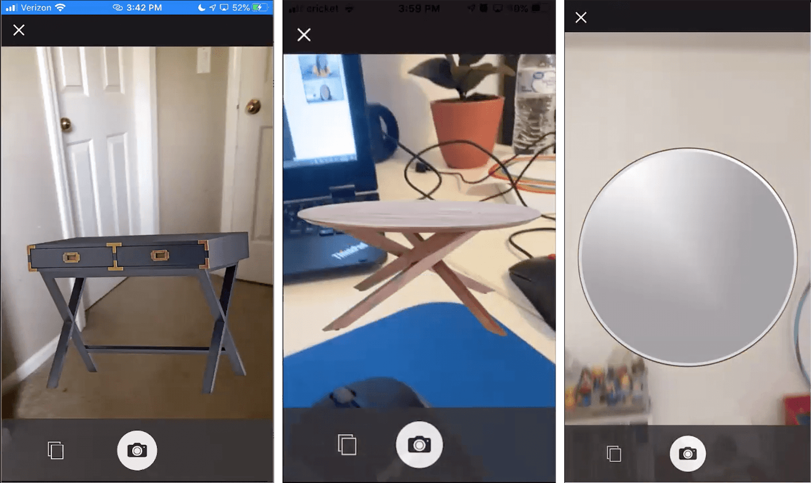 3 screenshots from usability tests showing a 2D desk, coffee table, and mirror placed in each user's room inaccurately.
