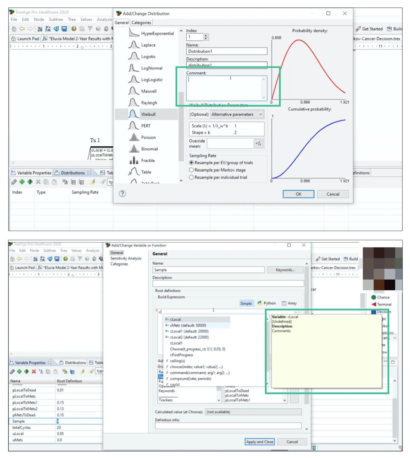 2 screenshots of the same web application. one shows a feature to add a comment during data analysis. the second screenshot shows a user accessing a previously-created comment within a data model.