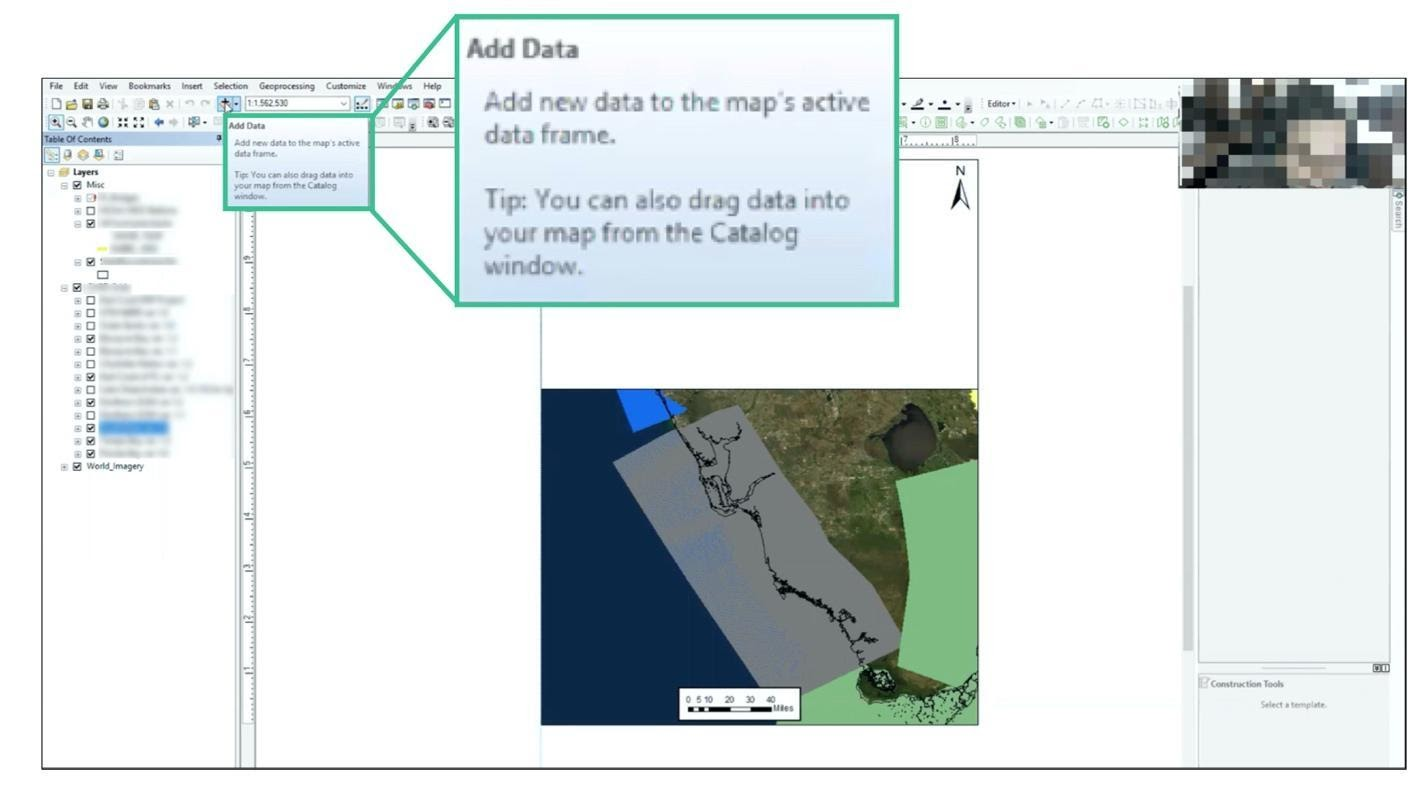 screenshot of a desktop application displaying a tooltip that reads: Add Data. Add new data to the map's active data frame. Tip: You can also drag data into the map from the Catalog window.