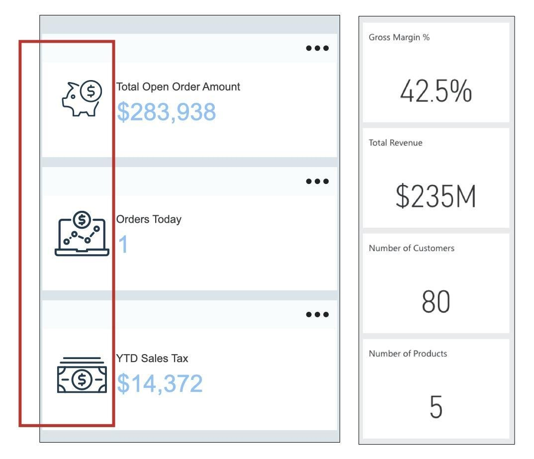 screenshots of 2 different sets of dashboards. Dashboard elements on the left display clear, large numbers without imagery or icons. Dashboard elements in the right set display numbers next to various money-related icons (a piggy bank, a computer with a money icon on the screen, and a stack of cash)