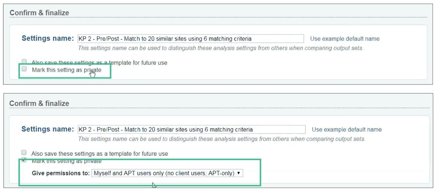 """2 screenshots of a form in a web application. The top screenshot has a checkbox for the setting """"mark this setting as private."""" In the second screenshot, the checkbox is checked, and a sub-setting is now displayed for who to """"give permissions to."""""""