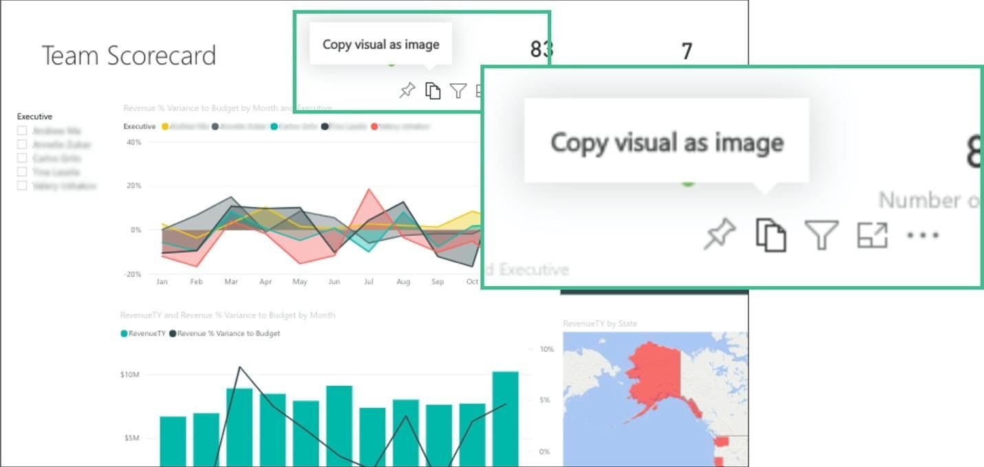 screenshot of an dashboard with several icons in the top right of each dashboard element. One icon displays a tooltip on hover that says: Copy visual as image.