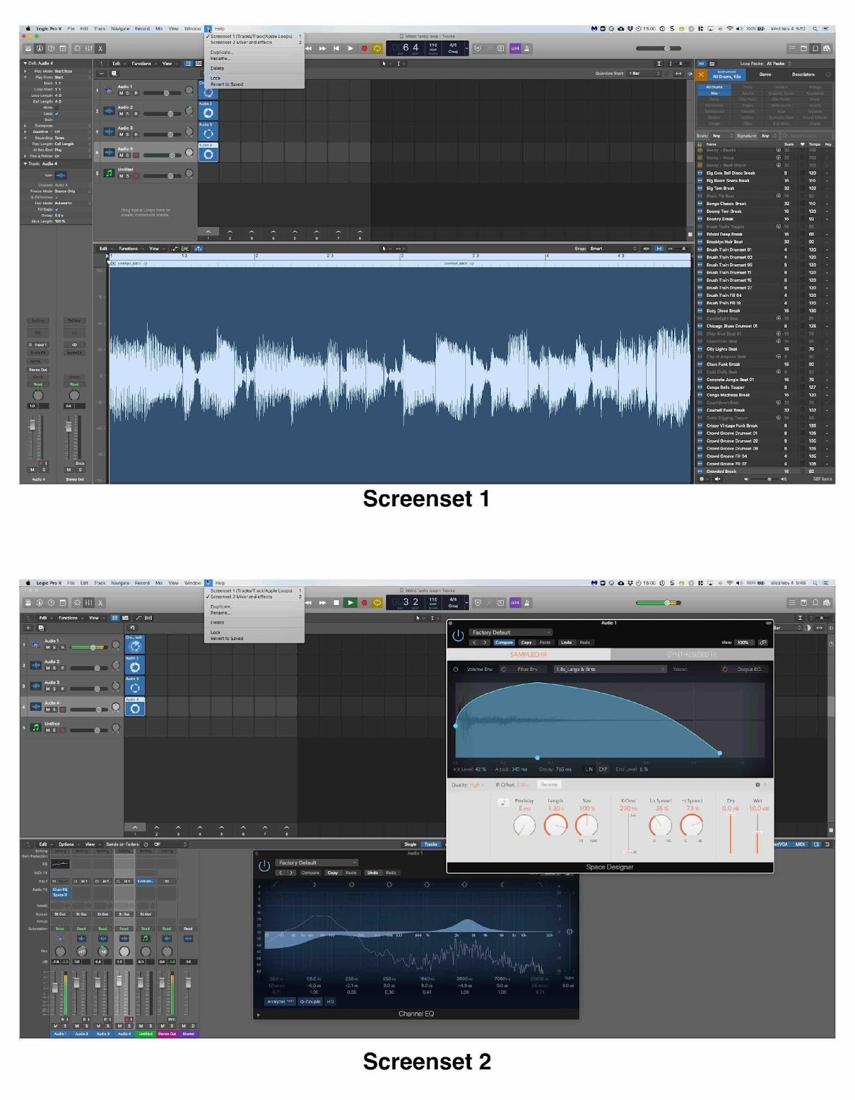 Logic Pro X two screensets (arrangements of windows) that are saved and easily recallable.