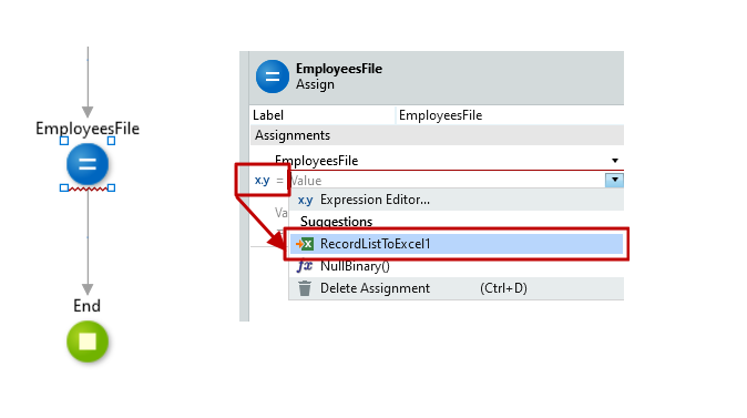 #3.13. Assign the Excel Record List to the EmployeeFile Output Parameter