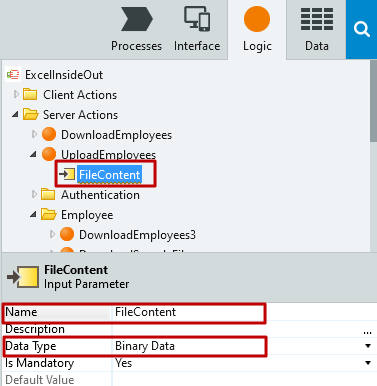 #4.11. Name and Data type of Input Parameter