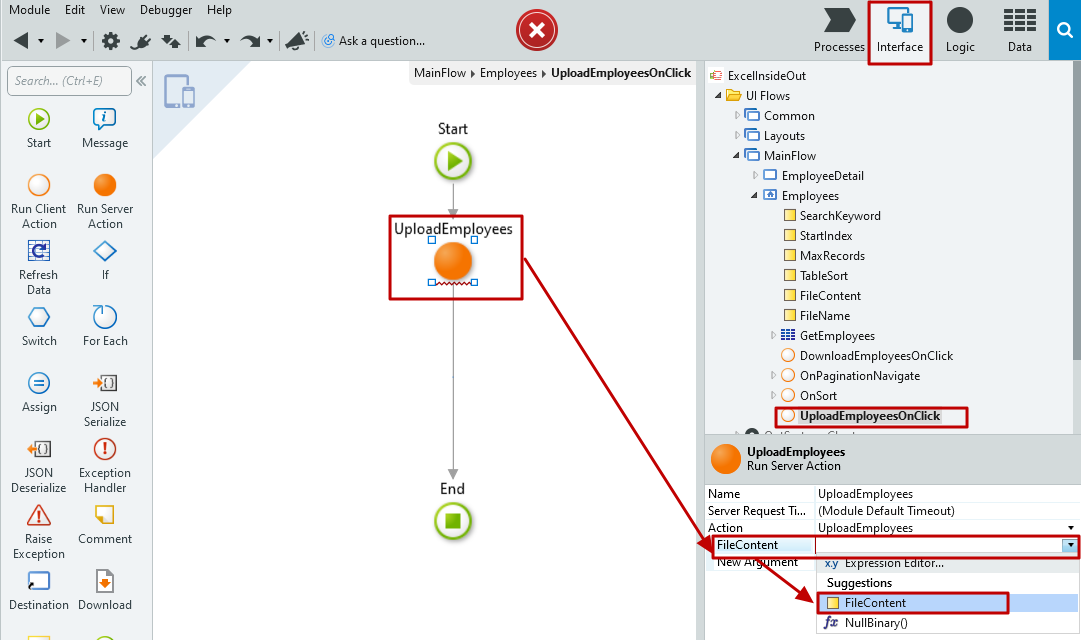#4.20. File Content definition to the UploadEmployees Server Action
